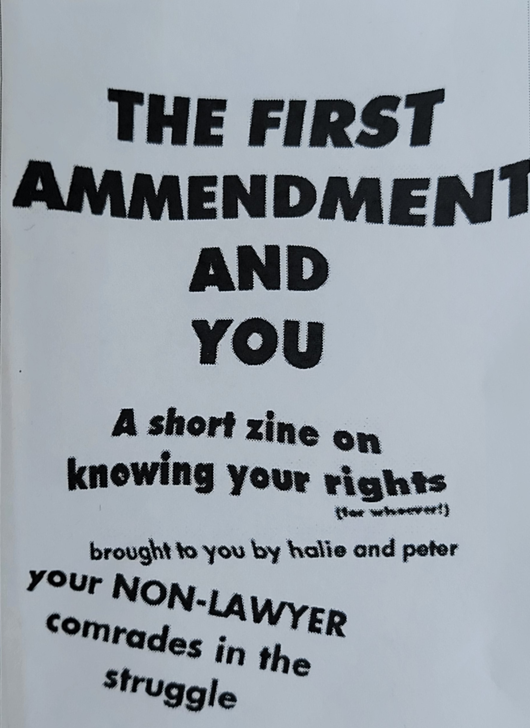 First Amendment and You